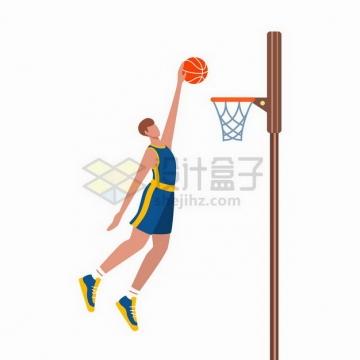 篮球运动员投篮扣篮体育运动扁平插画png图片免抠矢量素材