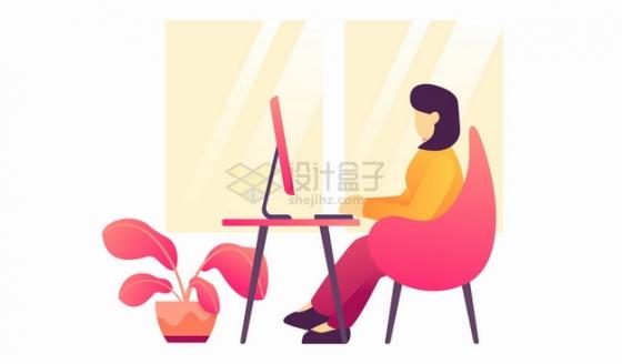 商务女士坐在电脑面前用电脑扁平插画png图片素材