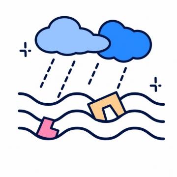 MBE风格暴雨洪水常见灾害插画png图片素材221954