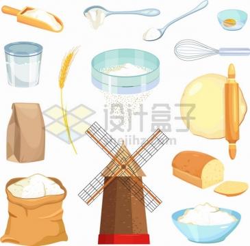 小麦面粉风车面包擀面杖筛子等png图片素材