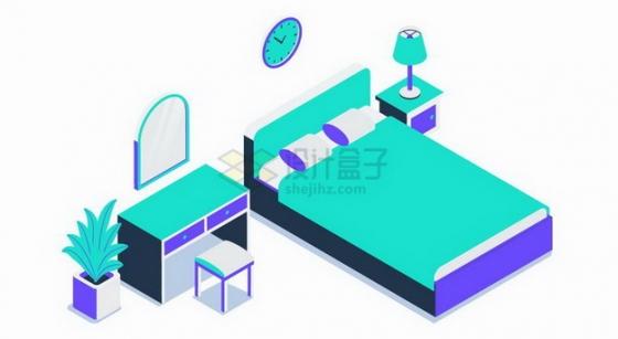 2.5D风格大床化妆台等卧室家具设施png图片免抠矢量素材