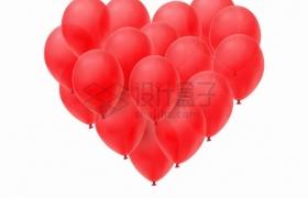 很多红色气球组成了心形图案png图片素材