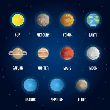 MBE风格太阳系九大行星和月球天文科普图片免抠素材