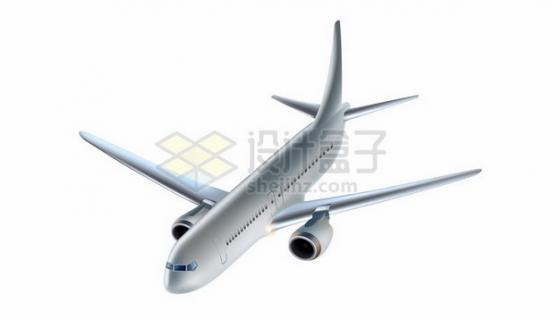 逼真的银灰色大型客机飞机536029 png图片素材