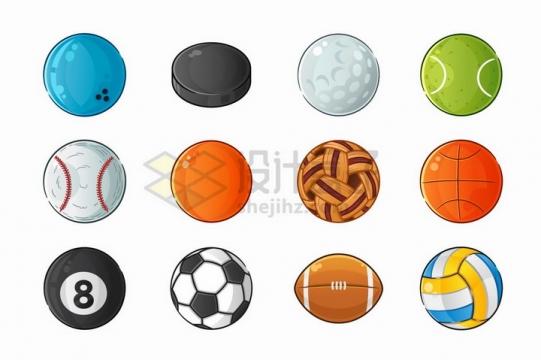 卡通保龄球高尔夫球网球棒球篮球排球足球橄榄球等体育球类png图片免抠矢量素材