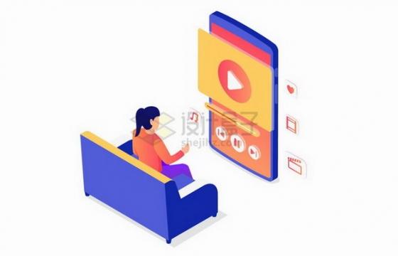 2.5D风格坐在沙发上用手机看视频的女孩png图片免抠矢量素材