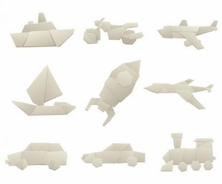 各种折纸小船摩托飞机帆船火箭飞机汽车火车等png图片免抠矢量素材
