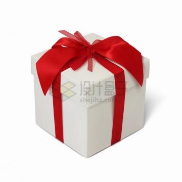 包扎了红色丝带的白色礼物盒礼品盒png图片素材