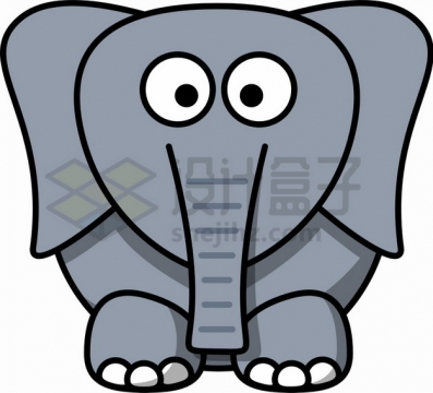 卡通大象简笔画儿童插画png图片素材