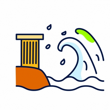 MBE风格海啸常见灾害插画png图片素材816166