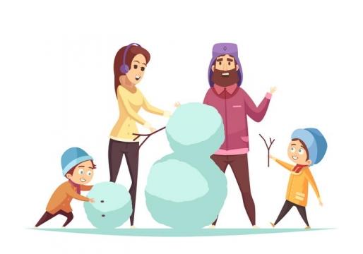 冬天里正在堆雪人的爸爸妈妈孩子卡通一家四口一家人图片免抠矢量素材
