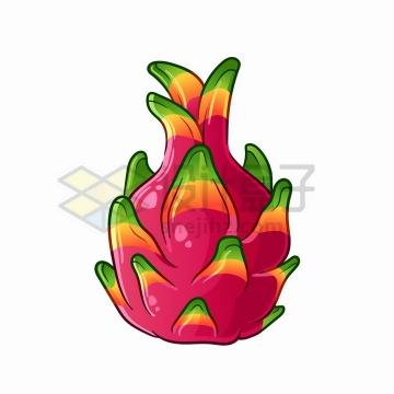 卡通彩色火龙果美味水果png图片免抠矢量素材