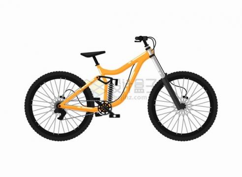 黄色运动自行车山地自行车侧视图png图片素材