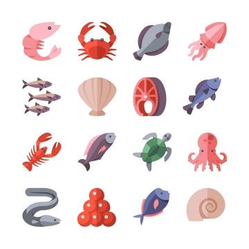 16款扁平化风格的螃蟹龙虾海龟等海洋生物图片免抠素材