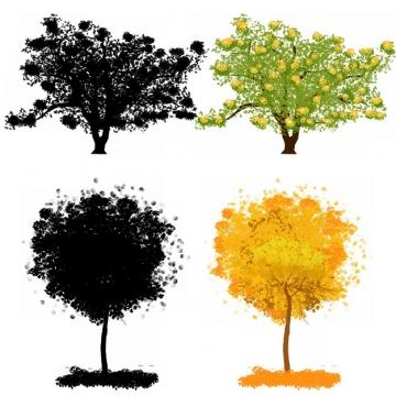 水彩画风格大树和树木剪影628070png图片素材