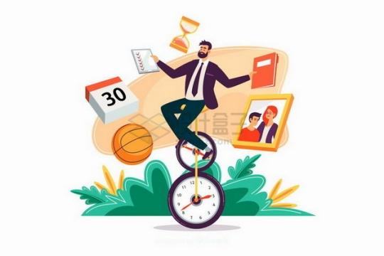 商务人士拿着日程安排骑时钟变成的自行车png图片素材