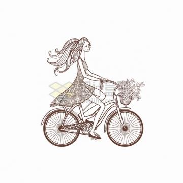 连衣裙少女骑自行车手绘线条插画png图片素材
