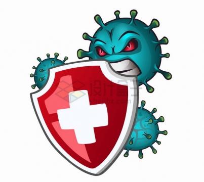 绿色的卡通新型冠状病毒正在咬红十字防护盾png图片免抠矢量素材