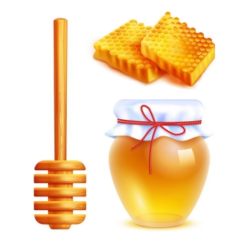 逼真的密封好的蜂蜜罐蜂巢蜜和蜂蜜棒免抠矢量图片素材