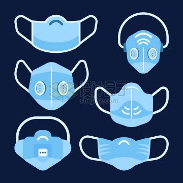 6款扁平化风格蓝色N95口罩和一次性医用口罩png图片免抠矢量素材