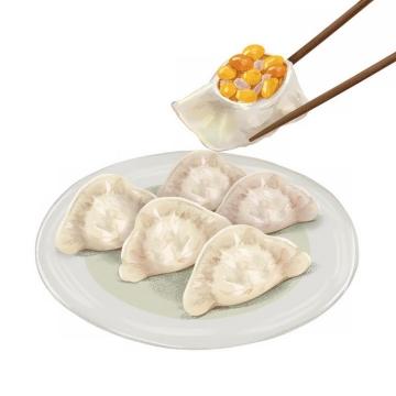 筷子夹起的一盘饺子水饺png图片免抠素材