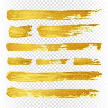 金色的毛笔涂鸦油漆风格水彩画纹理图片免抠素材
