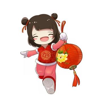 卡通小女孩拿着花灯新年春节元宵节png图片免抠素材