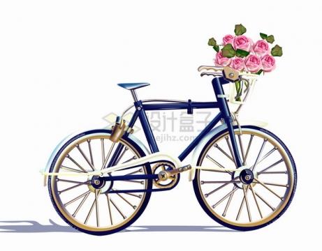 复古老式自行车和车篮中的玫瑰花鲜花png图片素材