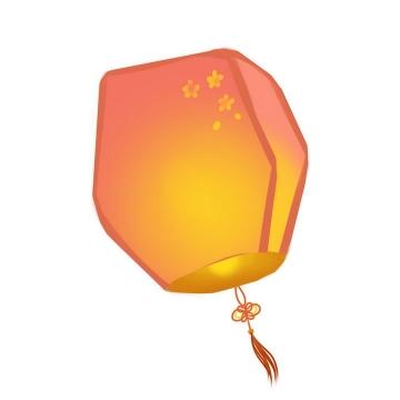 装点了梅花的红色黄色祈福孔明灯图片免抠png素材