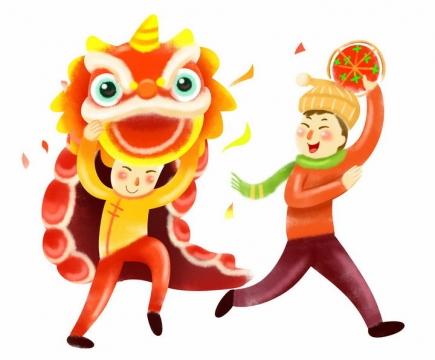 新年春节两个卡通手绘舞狮子的年轻人png图片免抠素材