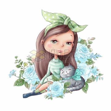 卡通女孩抱着猫咪蓝色玫瑰花水彩插画png图片素材