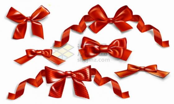 各种红色丝绸蝴蝶结png图片免抠矢量素材