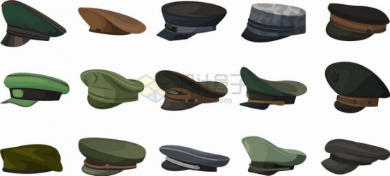 15款常见的大檐帽军帽png图片素材