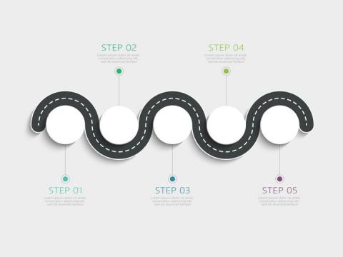 半圆形蜿蜒的道路公路流程图步骤图图片免抠矢量图