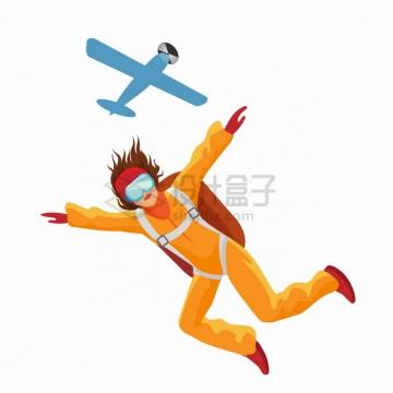 从飞机上跳下来背着降落伞的跳伞运动员极限运动png图片素材