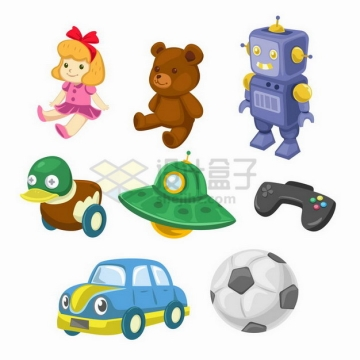 卡通玩具娃娃小熊机器人飞碟游戏机等儿童玩具png图片素材