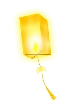 黄色的立方体祈福孔明灯图片免抠png素材