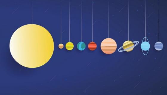 细线吊着的太阳系行星结构图天文科普图片免抠素材