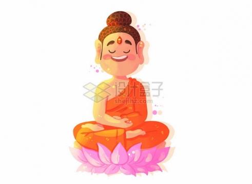 坐在莲花底座上的卡通佛祖如来佛png图片免抠矢量素材