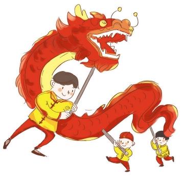手绘风格新年春节舞龙表演png图片免抠素材