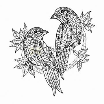 枝头上的两只小鸟抽象图案线条插画png图片素材