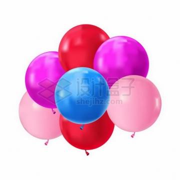 蓝色粉色红色圆形气球png图片免抠矢量素材