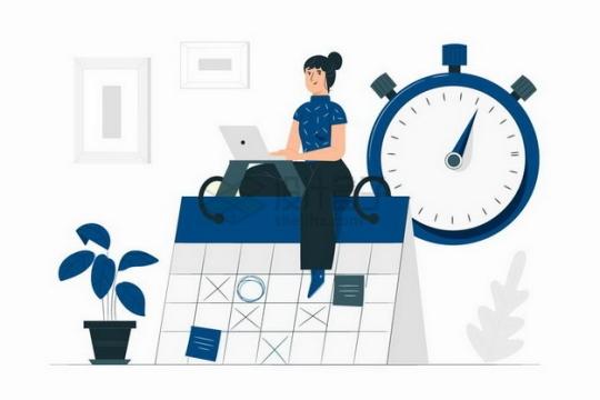 卡通美女坐在日历上秒表象征了日程安排工作计划扁平插画png图片素材
