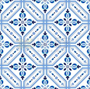 蓝色青花瓷花纹图案贴图191873png矢量图片素材