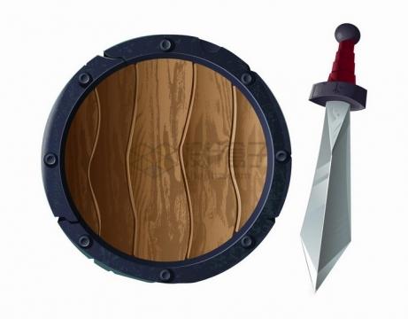 游戏中的木头盾牌和长剑png图片免抠矢量素材