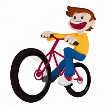 卡通男孩开心的骑自行车png图片素材