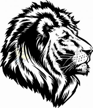 黑色狮子头部素描插画png图片素材