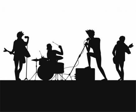 正在演奏表演的演唱会乐队剪影png图片免抠矢量素材