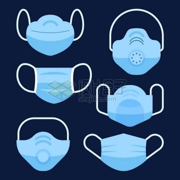 6款扁平化风格蓝色N95口罩和一次性医用口罩正面png图片免抠矢量素材