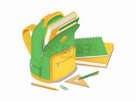 学生书包中装满了书本作业本铅笔三角尺等学习用品png图片免抠矢量素材